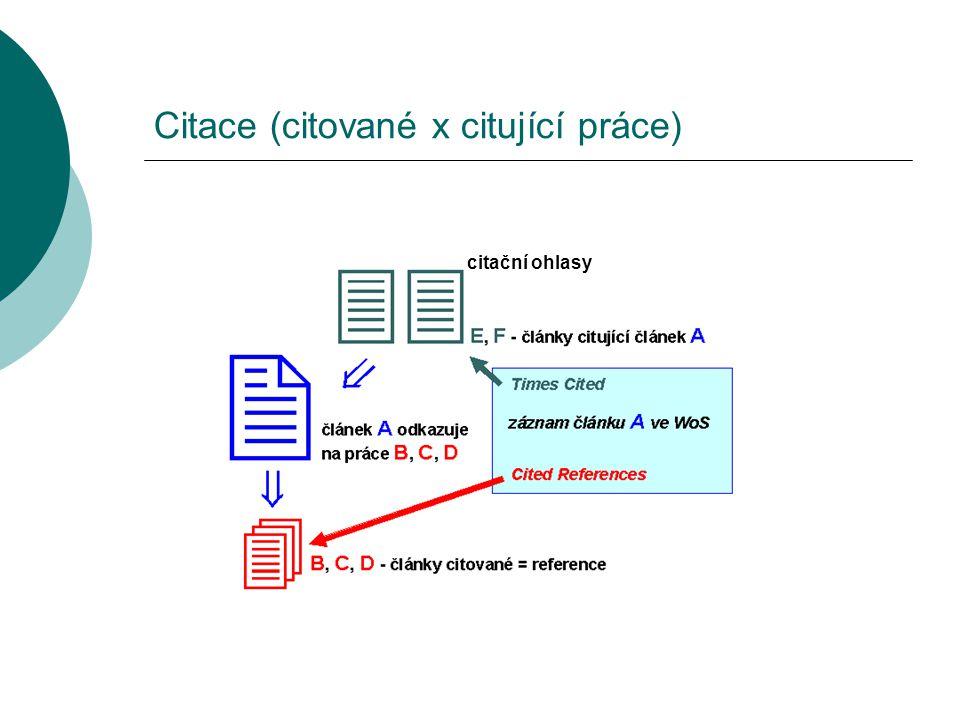 Citace (citované x citující práce) citační ohlasy