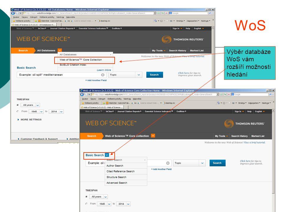WoS Výběr databáze WoS vám rozšíří možnosti hledání
