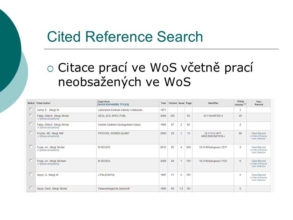 Cited Reference Search  Citace prací ve WoS včetně prací neobsažených ve WoS