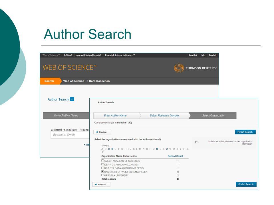 h-index  Udává kolik článků autora dosáhlo citovanosti stejné nebo vyšší, než je pořadové číslo článku podle počtu citací