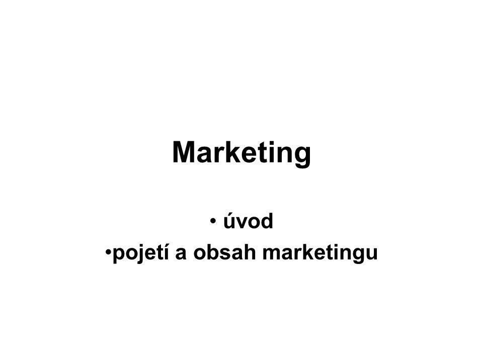 Marketing úvod pojetí a obsah marketingu