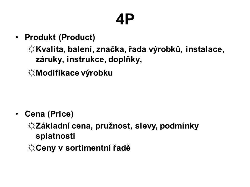 4P Produkt (Product) ☼Kvalita, balení, značka, řada výrobků, instalace, záruky, instrukce, doplňky, ☼Modifikace výrobku Cena (Price) ☼Základní cena, pružnost, slevy, podmínky splatnosti ☼Ceny v sortimentní řadě