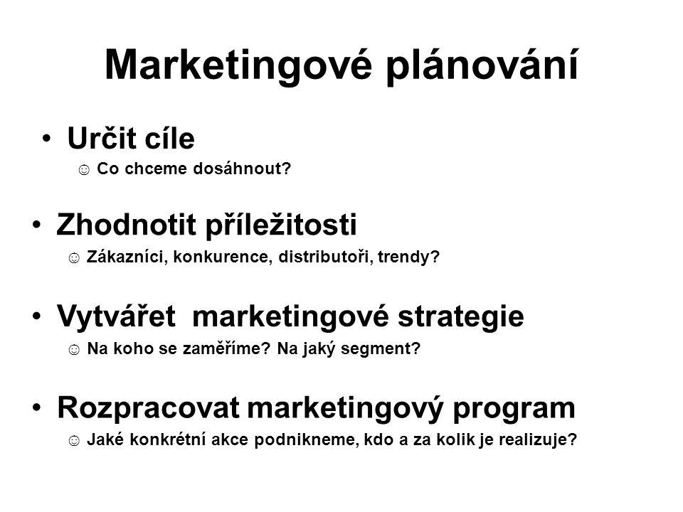Marketingové plánování Určit cíle ☺Co chceme dosáhnout? Zhodnotit příležitosti ☺Zákazníci, konkurence, distributoři, trendy? Vytvářet marketingové str