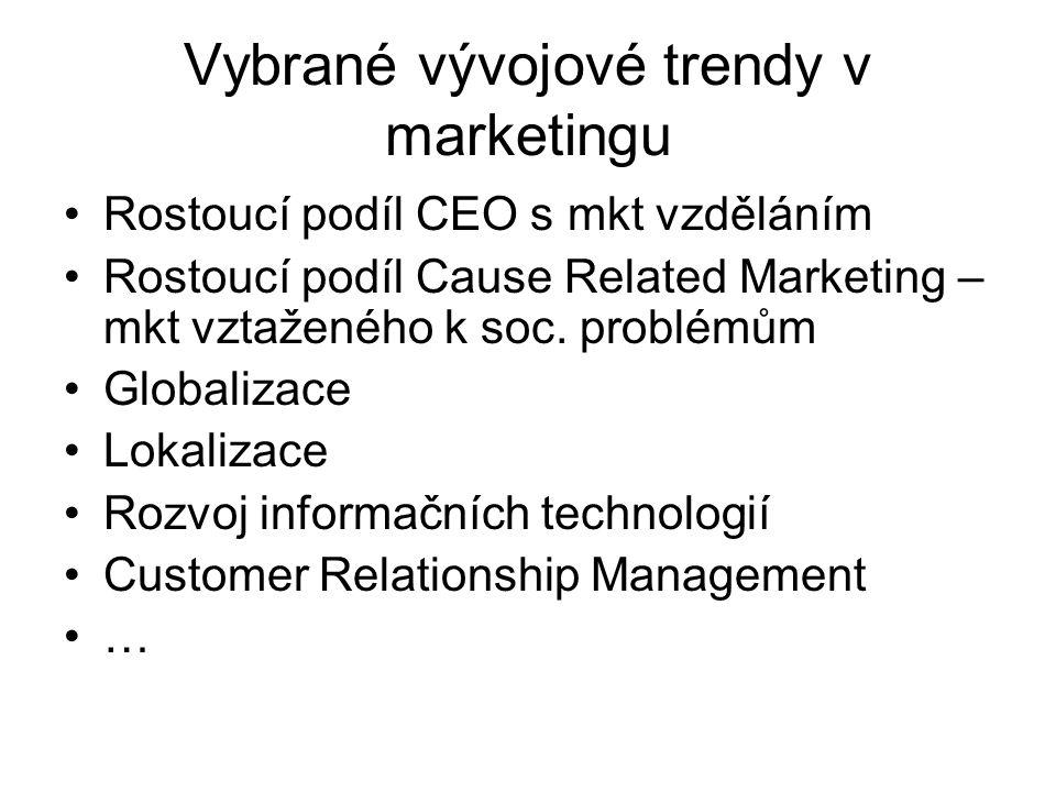 Vybrané vývojové trendy v marketingu Rostoucí podíl CEO s mkt vzděláním Rostoucí podíl Cause Related Marketing – mkt vztaženého k soc.