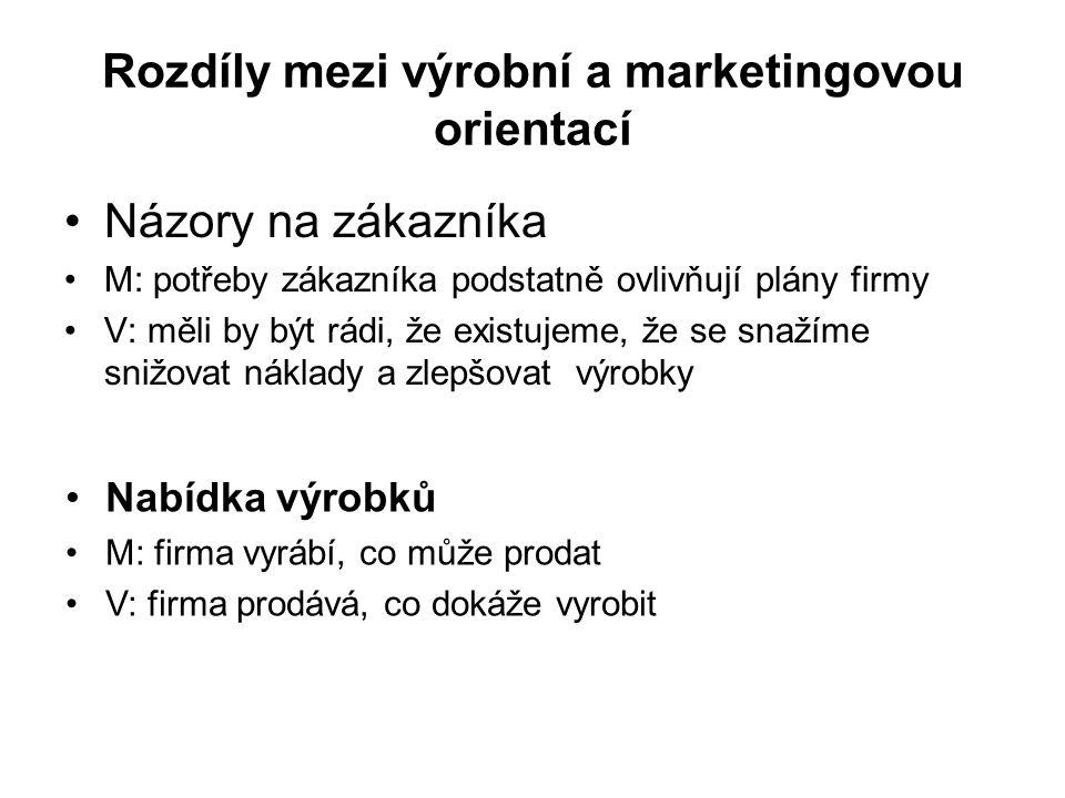 Rozdíly mezi výrobní a marketingovou orientací Názory na zákazníka M: potřeby zákazníka podstatně ovlivňují plány firmy V: měli by být rádi, že existu