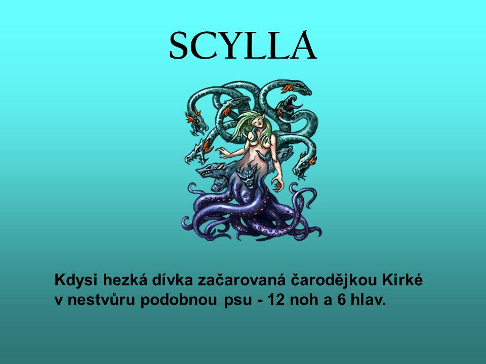 SCYLLA Kdysi hezká dívka začarovaná čarodějkou Kirké v nestvůru podobnou psu - 12 noh a 6 hlav.