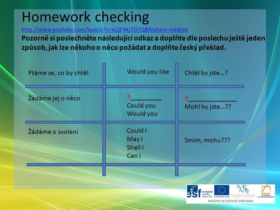 Homework checking http://www.youtube.com/watch?v=A2jF9kj7D7Q&feature=related Pozorně si poslechněte následující odkaz a doplňte dle poslechu ještě jed