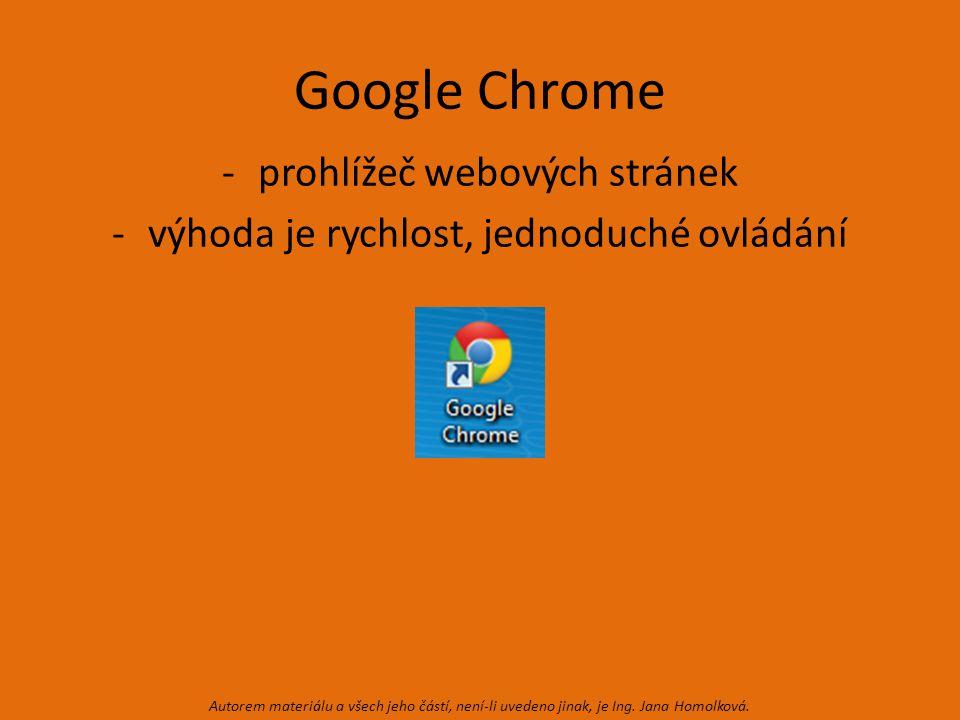 Google Chrome -prohlížeč webových stránek -výhoda je rychlost, jednoduché ovládání Autorem materiálu a všech jeho částí, není-li uvedeno jinak, je Ing.