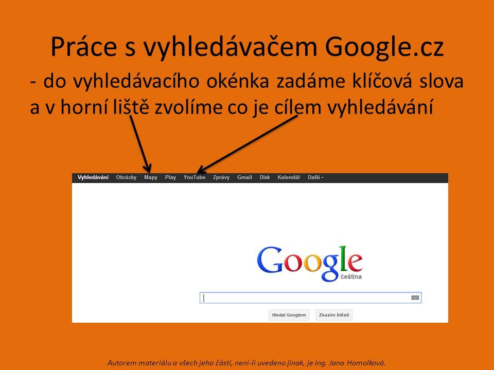 Práce s vyhledávačem Google.cz - do vyhledávacího okénka zadáme klíčová slova a v horní liště zvolíme co je cílem vyhledávání Autorem materiálu a všech jeho částí, není-li uvedeno jinak, je Ing.