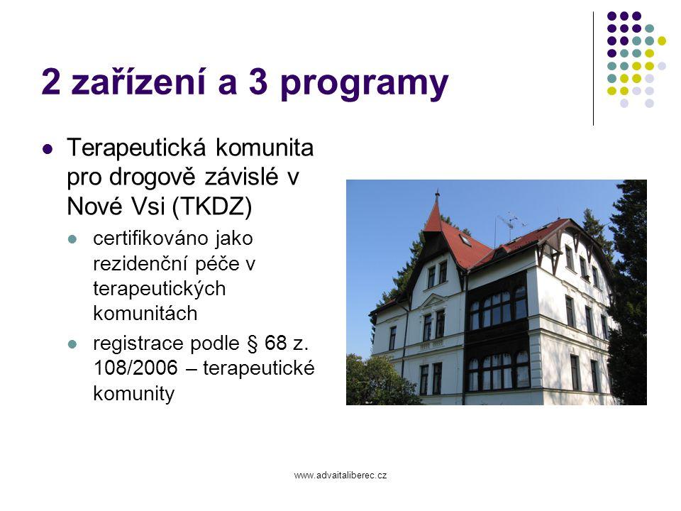 www.advaitaliberec.cz 2 zařízení a 3 programy Centrum ambulantních služeb ADVAITA (CAS) Program ambulantního poradenství (PAP) certifikováno jako ambulantní léčba registrace podle § 37 z.
