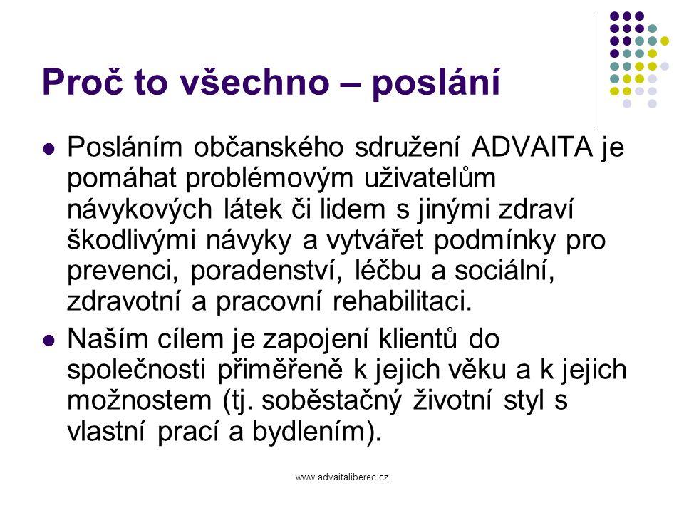 www.advaitaliberec.cz Zaměstnanci 14 pracovních úvazků 10,3 TKDZ (+ dva na DPČ) 3,7 CAS multidisciplinární tým