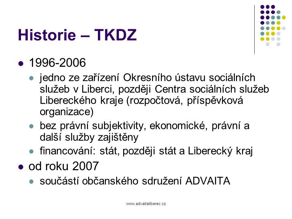 www.advaitaliberec.cz Historie - CAS 1998-2002 pouze doléčovací program občanské sdružení založili členové terapeutické komunity proto, aby v Liberci byla zajištěna následná péče zakladatelkou a dlouholetou předsedkyní byla Mgr.