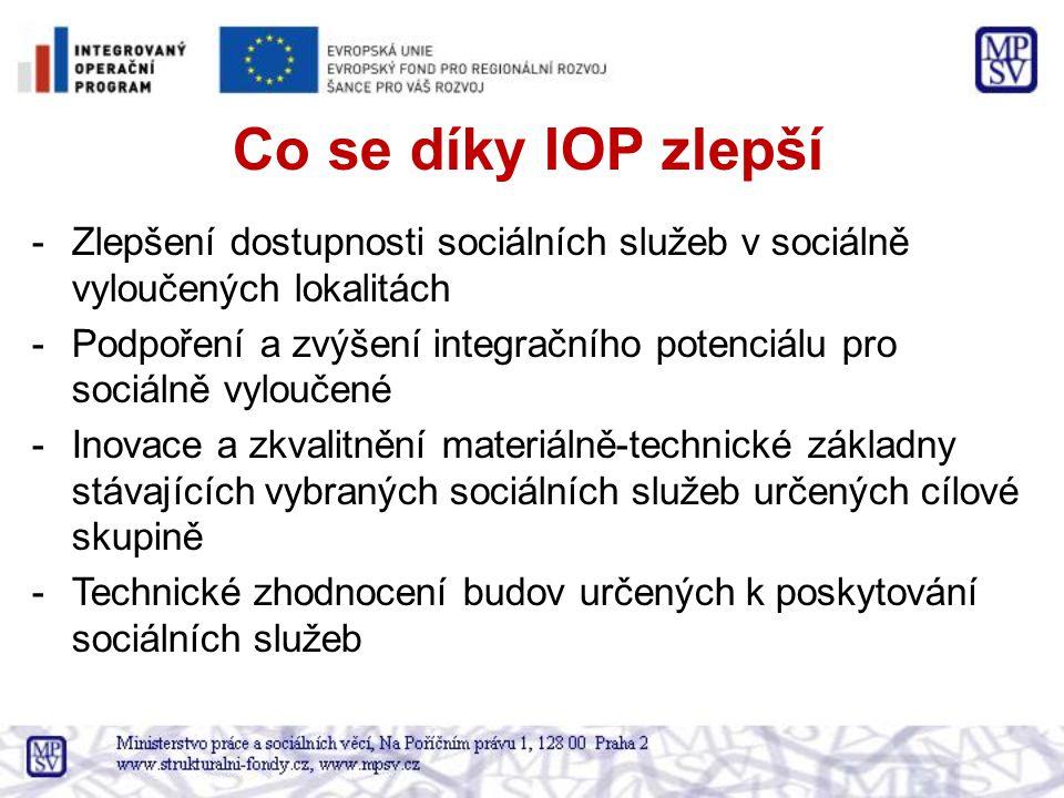 Co se díky IOP zlepší -Zlepšení dostupnosti sociálních služeb v sociálně vyloučených lokalitách -Podpoření a zvýšení integračního potenciálu pro sociálně vyloučené -Inovace a zkvalitnění materiálně-technické základny stávajících vybraných sociálních služeb určených cílové skupině -Technické zhodnocení budov určených k poskytování sociálních služeb