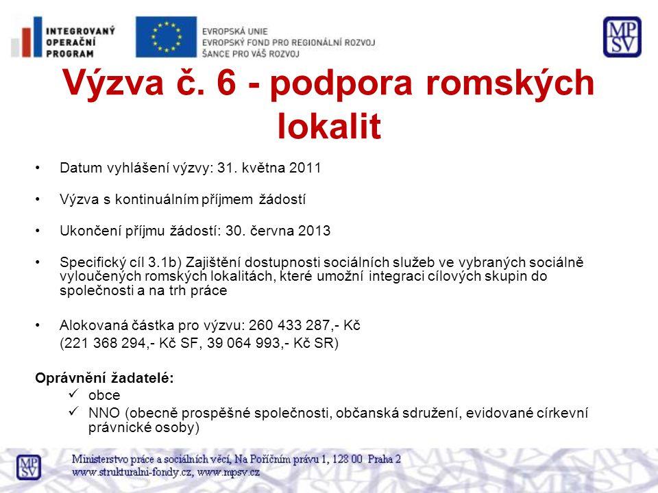 Výzva č. 6 - podpora romských lokalit Datum vyhlášení výzvy: 31.