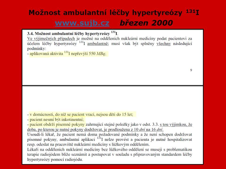 Možnost ambulantní léčby hypertyreózy 131 I www.sujb.cz březen 2000 www.sujb.cz