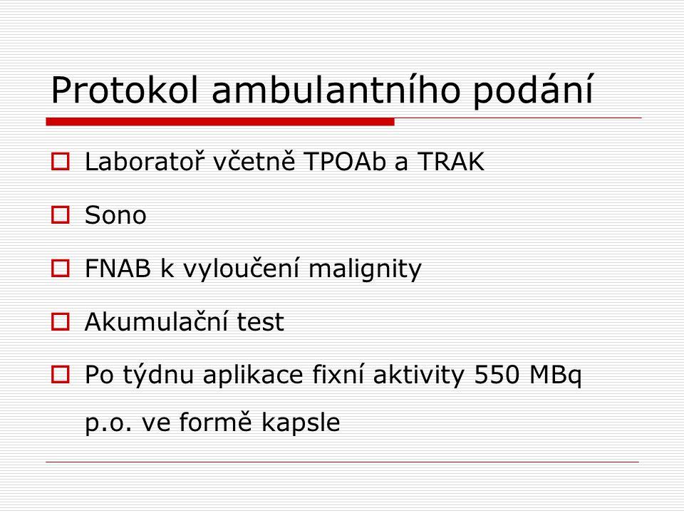 Protokol ambulantního podání  Laboratoř včetně TPOAb a TRAK  Sono  FNAB k vyloučení malignity  Akumulační test  Po týdnu aplikace fixní aktivity
