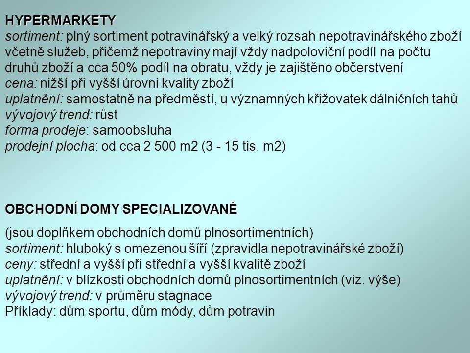 HYPERMARKETY HYPERMARKETY sortiment: plný sortiment potravinářský a velký rozsah nepotravinářského zboží včetně služeb, přičemž nepotraviny mají vždy