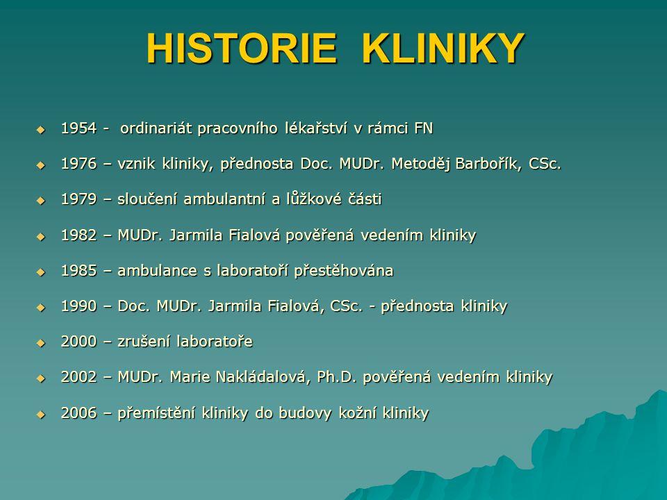 HISTORIE KLINIKY  1954 - ordinariát pracovního lékařství v rámci FN  1976 – vznik kliniky, přednosta Doc. MUDr. Metoděj Barbořík, CSc.  1979 – slou