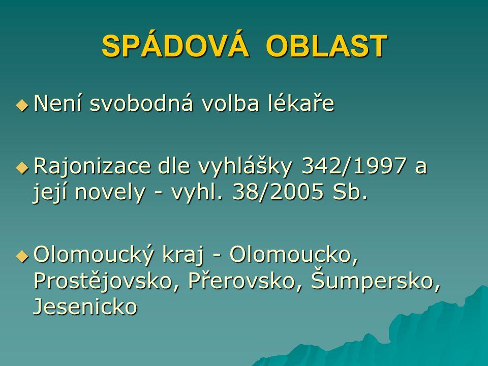 SPÁDOVÁ OBLAST  Není svobodná volba lékaře  Rajonizace dle vyhlášky 342/1997 a její novely - vyhl. 38/2005 Sb.  Olomoucký kraj - Olomoucko, Prostěj