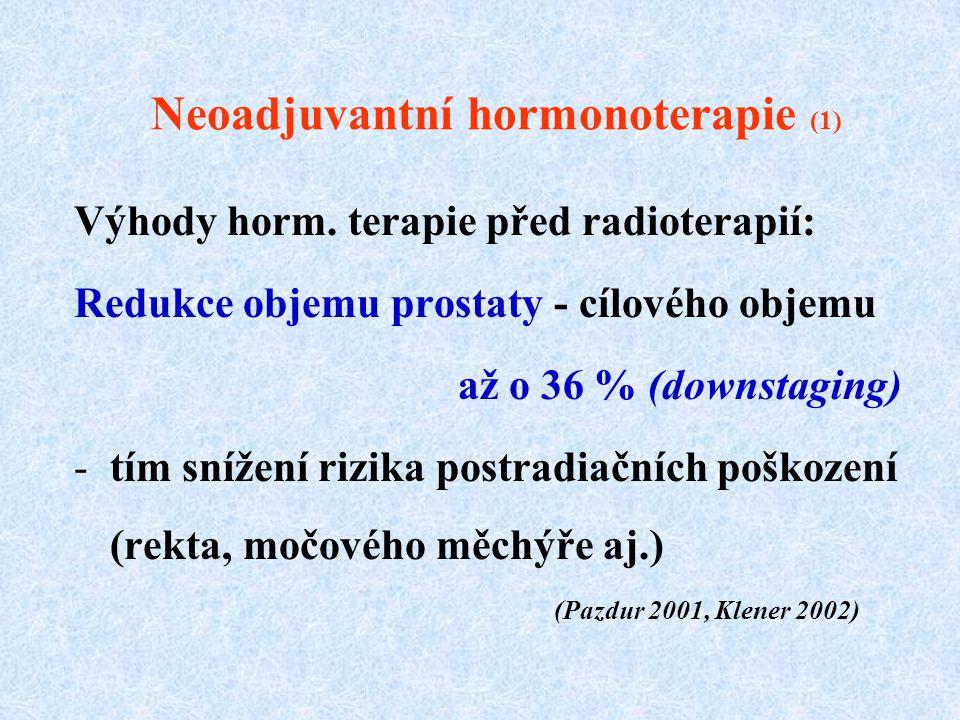 Neoadjuvantní hormonoterapie (1) Výhody horm. terapie před radioterapií: Redukce objemu prostaty - cílového objemu až o 36 % (downstaging) -tím snížen