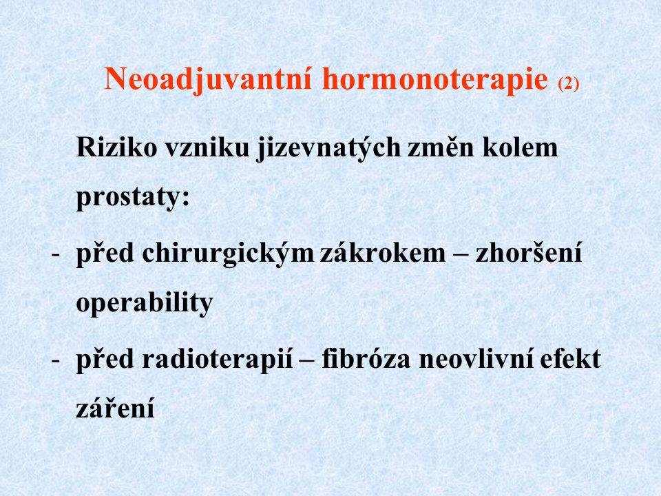 Neoadjuvantní hormonoterapie (2) Riziko vzniku jizevnatých změn kolem prostaty: -před chirurgickým zákrokem – zhoršení operability -před radioterapií – fibróza neovlivní efekt záření