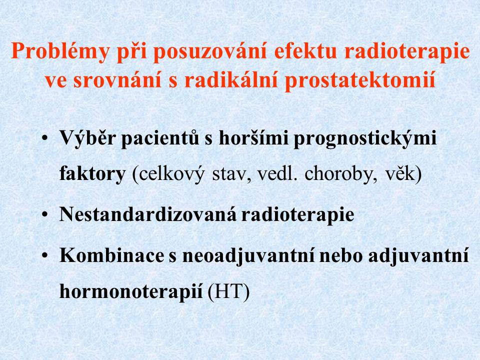 Problémy při posuzování efektu radioterapie ve srovnání s radikální prostatektomií Výběr pacientů s horšími prognostickými faktory (celkový stav, vedl