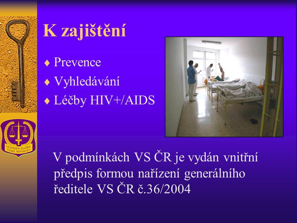 K zajištění  Prevence  Vyhledávání  Léčby HIV+/AIDS V podmínkách VS ČR je vydán vnitřní předpis formou nařízení generálního ředitele VS ČR č.36/200