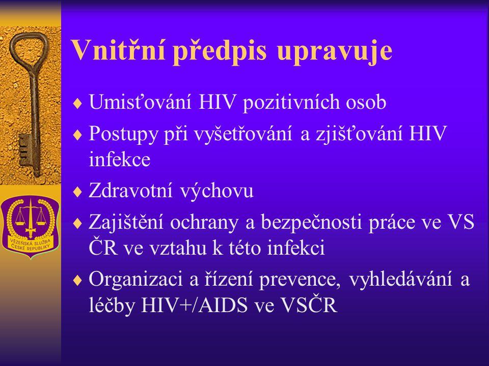 Vnitřní předpis upravuje  Umisťování HIV pozitivních osob  Postupy při vyšetřování a zjišťování HIV infekce  Zdravotní výchovu  Zajištění ochrany