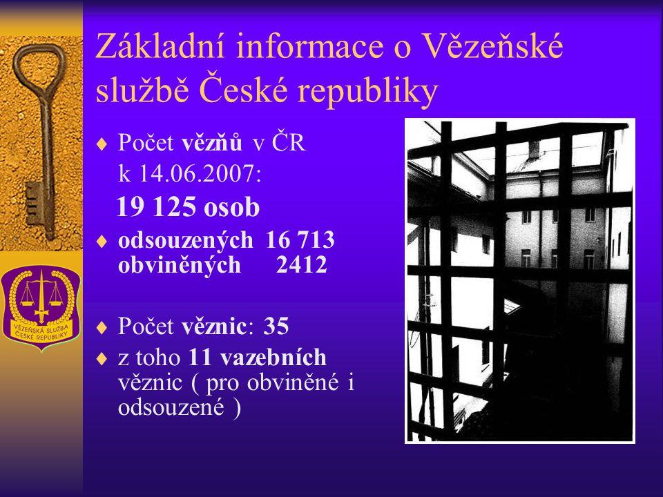 Základní informace o Vězeňské službě České republiky  Počet vězňů v ČR k 14.06.2007: 19 125 osob  odsouzených 16 713 obviněných 2412  Počet věznic: 35  z toho 11 vazebních věznic ( pro obviněné i odsouzené )