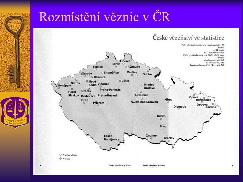 Rozmístění věznic v ČR