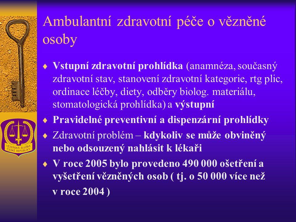 Ambulantní zdravotní péče o vězněné osoby  Vstupní zdravotní prohlídka (anamnéza, současný zdravotní stav, stanovení zdravotní kategorie, rtg plic, o
