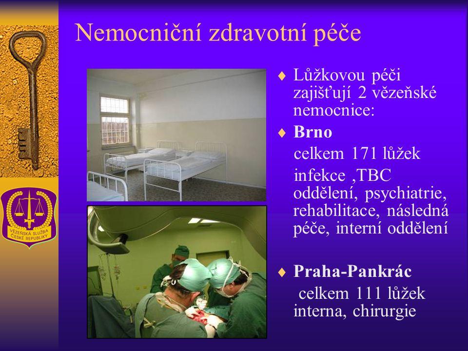 Nemocniční zdravotní péče  Lůžkovou péči zajišťují 2 vězeňské nemocnice:  Brno celkem 171 lůžek infekce,TBC oddělení, psychiatrie, rehabilitace, následná péče, interní oddělení  Praha-Pankrác celkem 111 lůžek interna, chirurgie