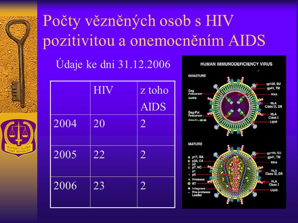 Počty vězněných osob s HIV pozitivitou a onemocněním AIDS HIVz toho AIDS 2004202 2005222 2006232 Údaje ke dni 31.12.2006