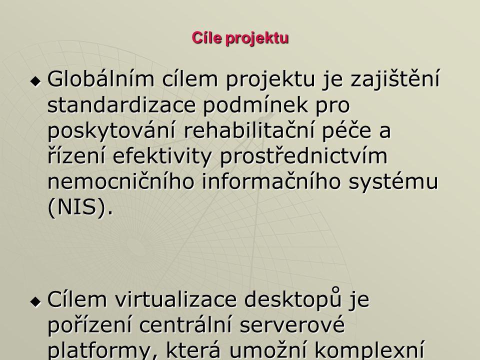 Cíle projektu  Globálním cílem projektu je zajištění standardizace podmínek pro poskytování rehabilitační péče a řízení efektivity prostřednictvím nemocničního informačního systému (NIS).