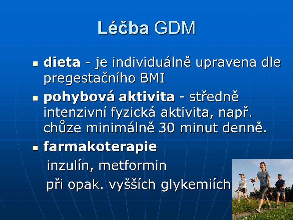 Léčba GDM dieta - je individuálně upravena dle pregestačního BMI dieta - je individuálně upravena dle pregestačního BMI pohybová aktivita - středně in