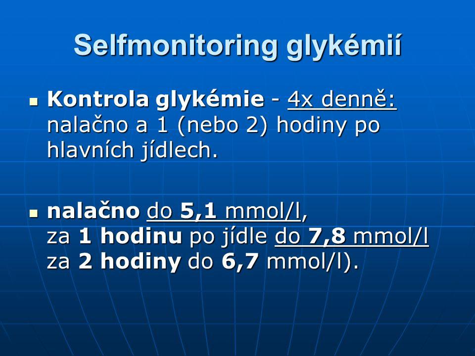 Selfmonitoring glykémií Kontrola glykémie - 4x denně: nalačno a 1 (nebo 2) hodiny po hlavních jídlech. Kontrola glykémie - 4x denně: nalačno a 1 (nebo