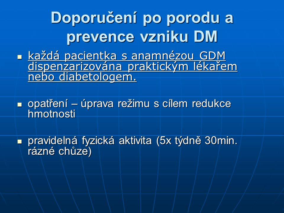 Doporučení po porodu a prevence vzniku DM každá pacientka s anamnézou GDM dispenzarizována praktickým lékařem nebo diabetologem. každá pacientka s ana