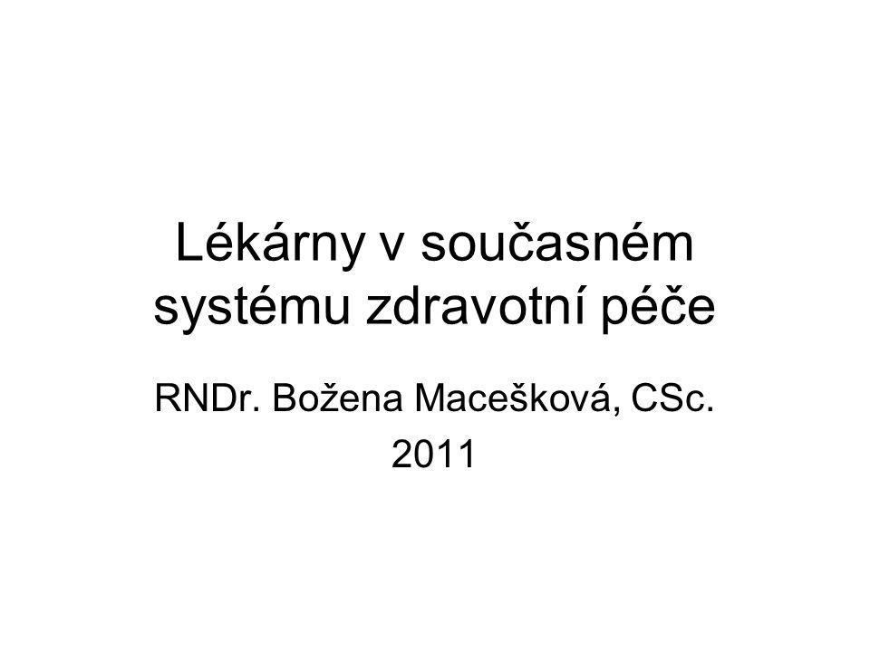 Lékárny v současném systému zdravotní péče RNDr. Božena Macešková, CSc. 2011