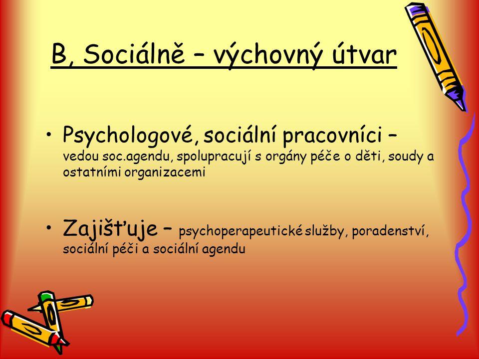 B, Sociálně – výchovný útvar Psychologové, sociální pracovníci – vedou soc.agendu, spolupracují s orgány péče o děti, soudy a ostatními organizacemi Zajišťuje – psychoperapeutické služby, poradenství, sociální péči a sociální agendu