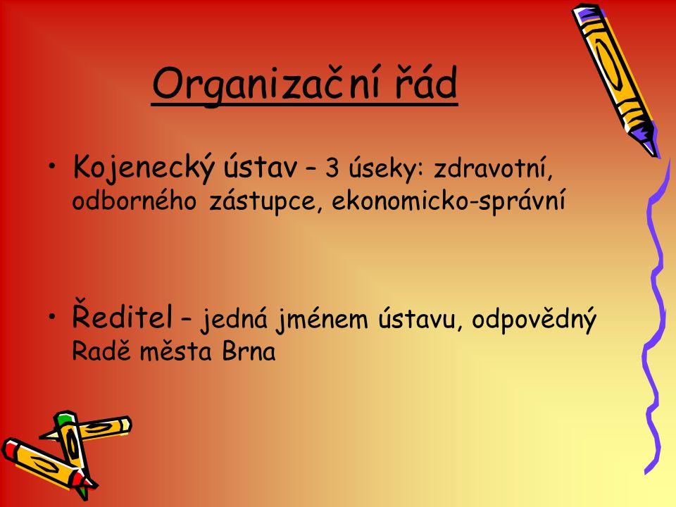 Organizační řád Kojenecký ústav – 3 úseky: zdravotní, odborného zástupce, ekonomicko-správní Ředitel – jedná jménem ústavu, odpovědný Radě města Brna