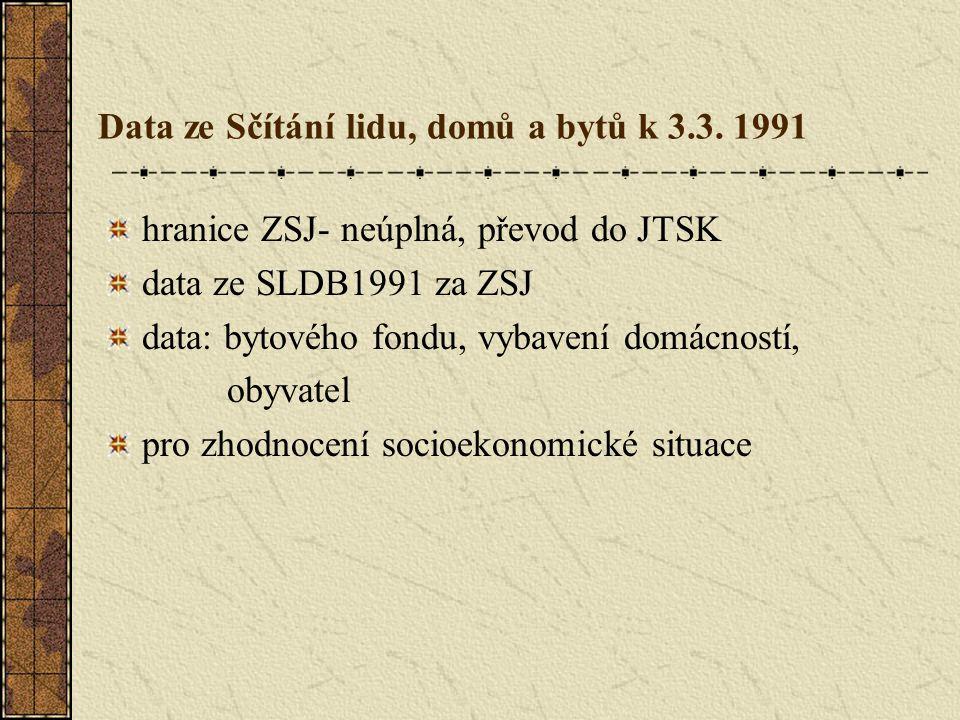 hranice ZSJ- neúplná, převod do JTSK data ze SLDB1991 za ZSJ data: bytového fondu, vybavení domácností, obyvatel pro zhodnocení socioekonomické situace Data ze Sčítání lidu, domů a bytů k 3.3.