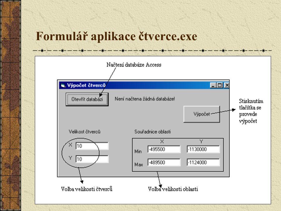 Formulář aplikace čtverce.exe