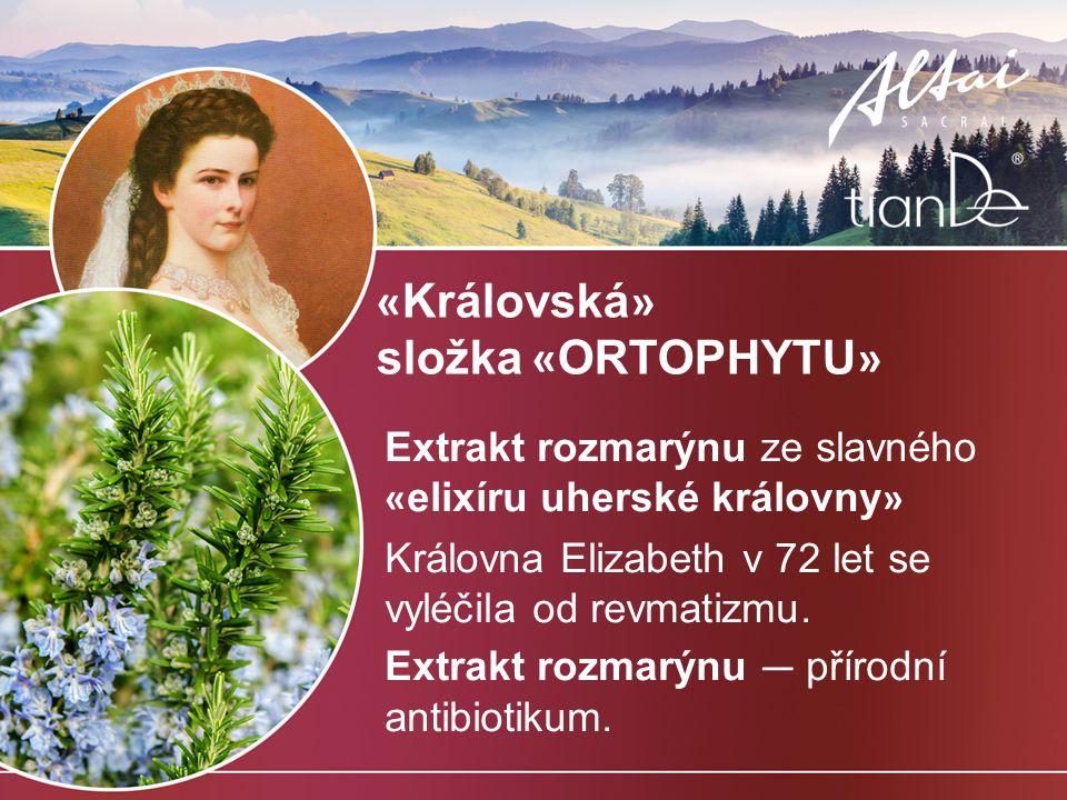 « Královská » složka « ORTOPHYTU » Extrakt rozmarýnu ze slavného « elixíru uherské královny » Královna Elizabeth v 72 let se vyléčila od revmatizmu.