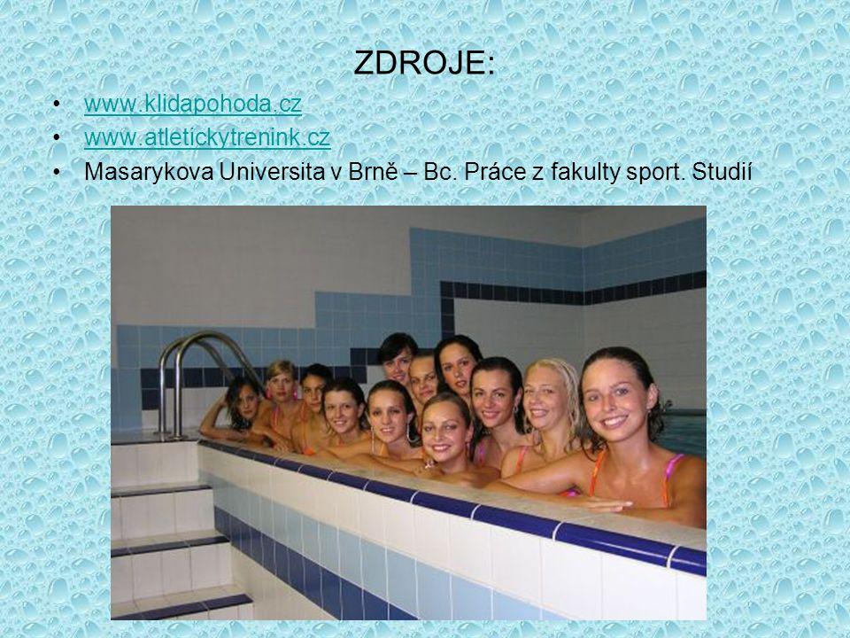 ZDROJE: www.klidapohoda.cz www.atletickytrenink.cz Masarykova Universita v Brně – Bc.
