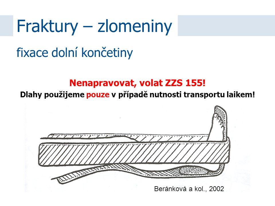 Nenapravovat, volat ZZS 155! Dlahy použijeme pouze v případě nutnosti transportu laikem! Beránková a kol., 2002 Fraktury – zlomeniny fixace dolní konč
