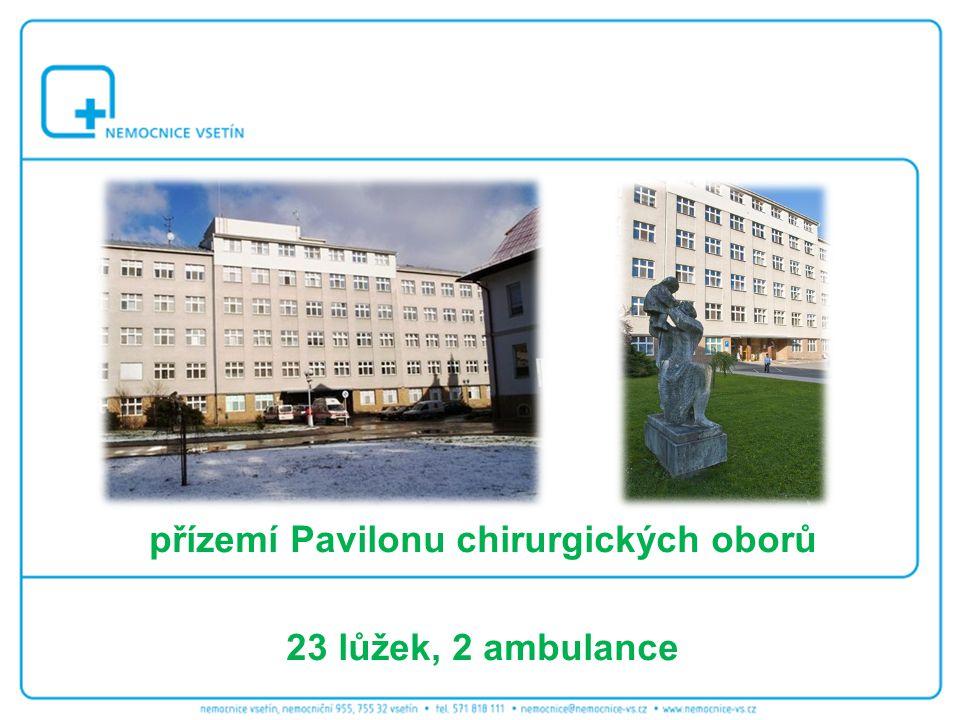přízemí Pavilonu chirurgických oborů 23 lůžek, 2 ambulance