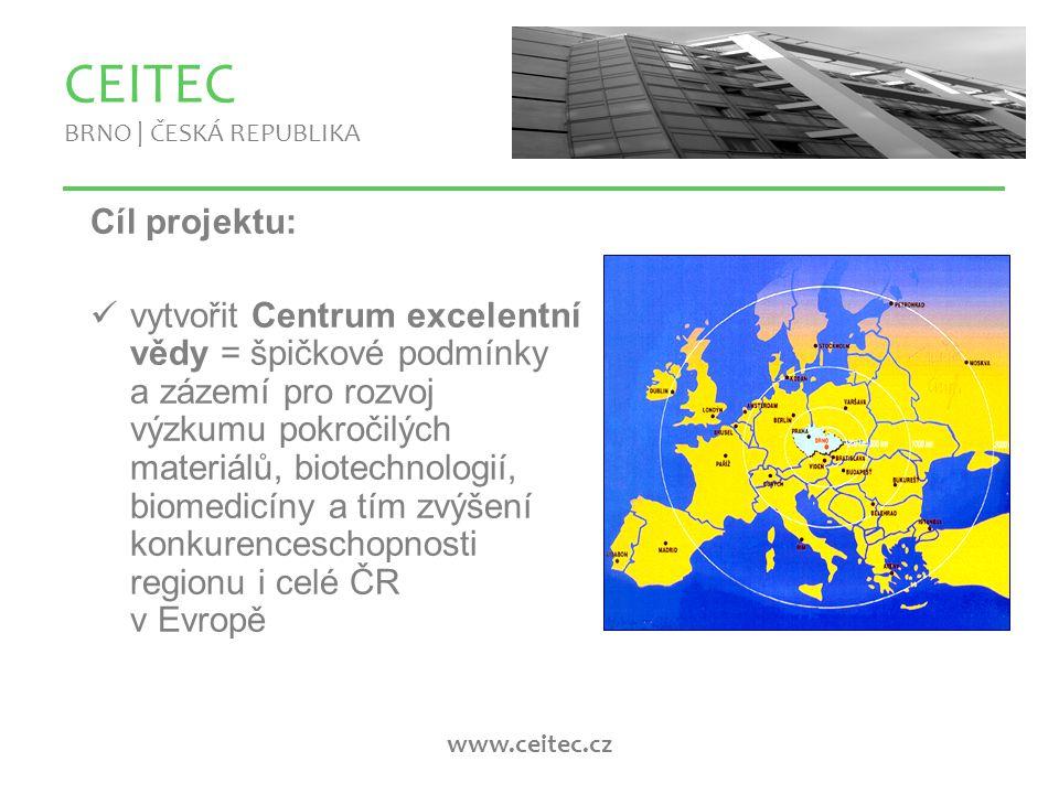 www.ceitec.cz CEITEC BRNO | ČESKÁ REPUBLIKA Historie a budoucnost projektu: 2005 - první obrysy projektu, tehdy ještě CETI srpen - září 2006 – první drafty, vědecká evaluace projektu CETI listopad 2006 – zřízení CEITEC s.r.o.
