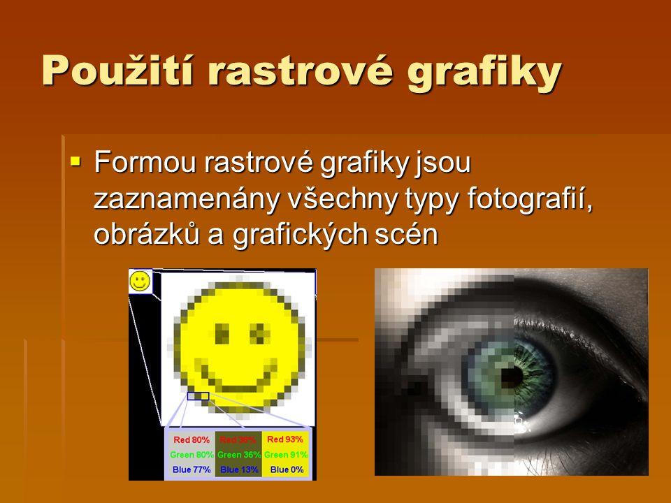 Použití rastrové grafiky  Formou rastrové grafiky jsou zaznamenány všechny typy fotografií, obrázků a grafických scén