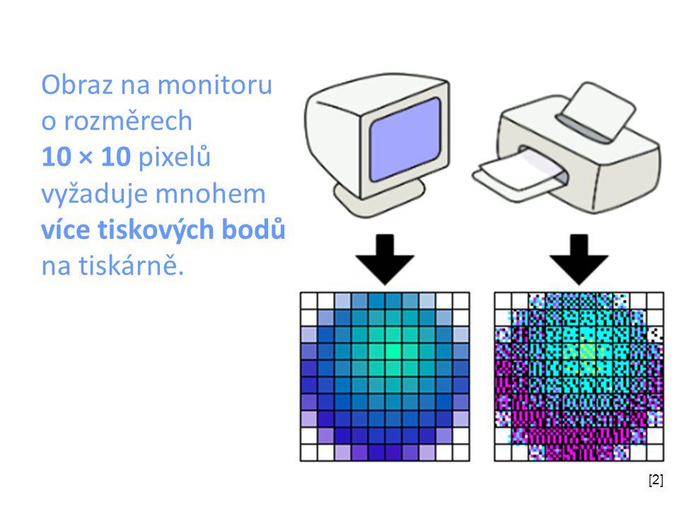 Obraz na monitoru o rozměrech 10 × 10 pixelů vyžaduje mnohem více tiskových bodů na tiskárně. [2]