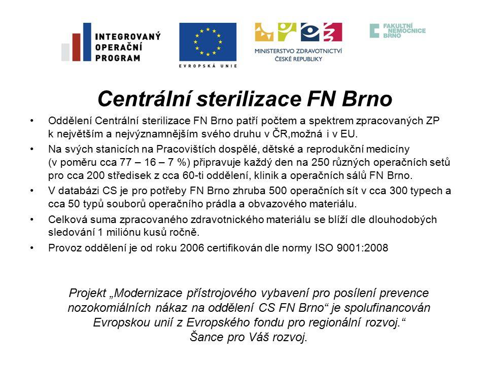 Centrální sterilizace FN Brno Oddělení Centrální sterilizace FN Brno patří počtem a spektrem zpracovaných ZP k největším a nejvýznamnějším svého druhu v ČR,možná i v EU.